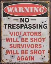 Blechschild - Warning No Trespassing -  Nostalgieschild-Deko- 25cm x 20 cm