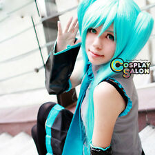 Halloween Anime Vocaloid Kagamine Miku Blue Long Straight Cosplay Wig+Ponytails