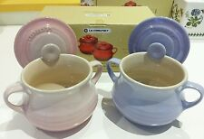 New Rare Le Creuset 90 anniversary Milky Pink & Pastel Purple soup pot set of 2