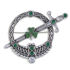 Miracle Pewter Celtic Green Crystal Tara Sword Shamrock Brooch UK Made