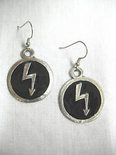 NEW MARILYN MANSON MUSIC LIGHTNING BOLT BLACK INLAY PEWTER PENDANT EARRINGS