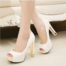 Sexy Womens Simple Stilettos Platform Peep-toe Fashion Pumps OL High Heels Shoes