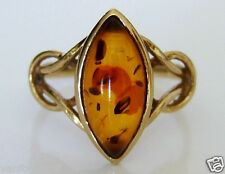 Beautiful 9ct Gold Amber Ring Size N
