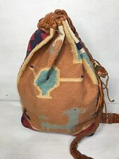 Vintage Marco Avane Kilim Bucket Bag Purse With Stone Fob Leather 80s