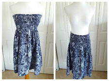 Women's Size L Skirt / Top / Convertible Sundress Blue Cotton Stretch Smocking