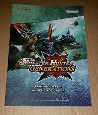 Monster Hunter generations Nintendo publicidad Promo folleto cuaderno folleto 3ds nuevo