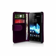 Purple Wallet Leather Case cover for Sony Xperia J ST26i / ST26a experia +2 FILM