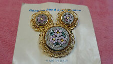 VINTAGE MICRO MOSAIC PIN AND CLIP ON EARRING SET GOLD TONE MADE IN ITALY