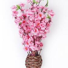 10x Artificial Peach Blossom Flower Bouquet 3 Fork Stems Wedding Decor Pink