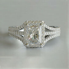 2 Cts VVS2 G Heavy Design Radiant Cut Diamond Engagement Ring 18 K White Gold