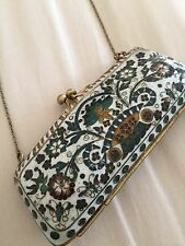 Vintage Antique Chinese Cloisonne ENAMEL Miniature Handbag Purse Shape Box Chain