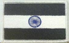 INDIA Flag Embroidered Iron-On Patch Military BLACK, BLUE & WHITE  Version