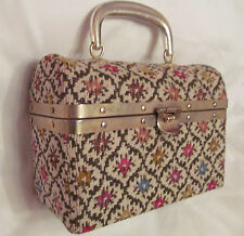 50's box style pin up tapestry brocade Hungarian print hand bag purse ITALY
