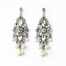 E2109 RTR Ben-Amun Rent Love Letter Earrings Silver Crystals Pearls Drop Tassel