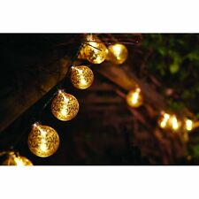 Outside In Stellar Glass Baubles String Light Gold Battery Operated