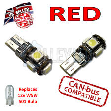 2 x Red Bright Canbus LED Side Plate Interior Light 5 SMD 501 T10 W5W Bulbs