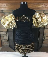 VTG ALYCE DESIGNS 80'S 90'S PROM GOWN PARTY DRESS BLK/GOLD RUCHED SEQUIN SZ 10