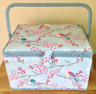 BEAUTIFUL SEWING BOX BASKET 3 Sizes BLUE 'TWEET' DESIGN Birds & Flowers QUALITY