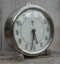 Classic Vintage French JAZ Mechanical Alarm Clock ~ Working ~ Chrome Casing
