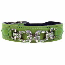 NWT Hartman & Rose Gucci Pet Cat or Dog After 8 Leather Collar Nickel 10 - 12""