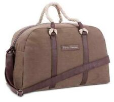 Tommy Bahama Men Duffle Weekend Olive Brown Faux Leather Cotton Large Handbags