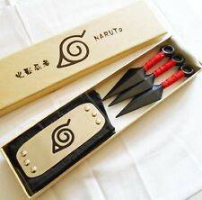 New For Anime Naruto Leaf Village Ninja Weapons Cosplay Kunai & Headband Prop