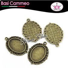 2 pz basi per cammeo cabochon ovale,colore bronzo 18x25mm MINUTERIA BIGIOTTERIA