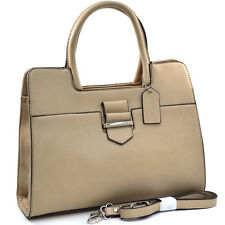 Dasein Women Leather Classic Chic Briefcase Satchel Bag Office Bag Strap Beige