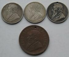4 ZAR South Africa Coins, 3 Silver Shillings & a Penny, 2 holed