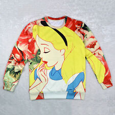 Fashion Women 3D Alice in Wonderland Pullover Sweater Sweatershirt Tops