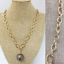 Brown Iridescent Baroque Mallorca Pearl Pendant Necklace Gold Plated Chain Link