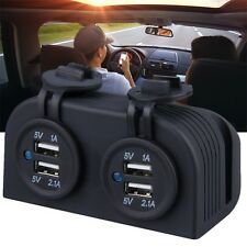 New Dual Car Cigarette Lighter Power Plug Socket Charger Adapter With 4 USB QT