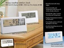 Power Plus Sharp weather station clock with see-thru display transparent