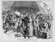 EMIGRANTS DEPARTING FOR THE WEST HISTORY ENGRAVING LUGGAGE IMMIGRANT TRUNK