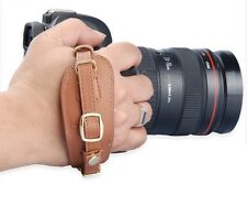 For SLR DSLR Camera Canon EOS Nikon Sony Brown Leather Wrist Strap Hand Grip NEW