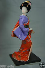 Vintage Japanese Geisha  Porcelain Features Figurine Doll Wood Base