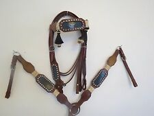 NEW LEATHER WESTERN HEADSTALL BRIDLE BREAST COLLAR TACK SET RHDGTR