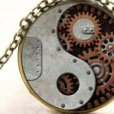 Yin Yang Steampunk Mechanics Pendant Necklace, Rustic Gears and Cogs Jewellery
