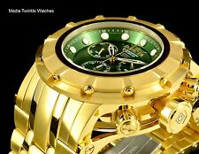 Invicta 54MM S1 SPEEDWAY Swiss Quartz Chronograph Green Dial 18k Gold Tone Watch
