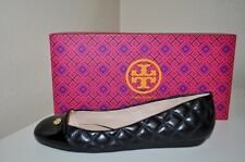 NEW! Tory Burch CLAREMONT Ballet Flat Shoe Sz 5.5 Black Quilted Leather NIB