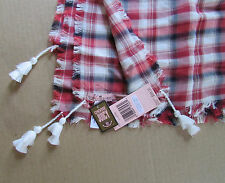 "NEW Juicy Couture Scarf Open Road Red multi Plaid 34"" Square Tassels Cotton"