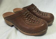 Olof Daughters Women's 6M Woven Leather Clogs Shoes Brown Wedges Heels Mules