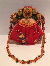MARY FRANCES RED PURSE WITH BEADED STRAP