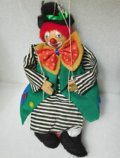 Clown marionette Wooden string puppet Traditional toy or decorative ornament