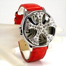 Gents Mens Red Leather Silver Rapper Spin Ice Pimp Bling Crystal Gangster Watch