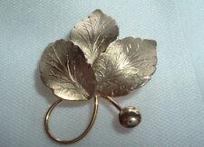 VINTAGE 14K GOLD FILLED LEAF BROOCH PIN SIGNED CR IN GIFT BOX
