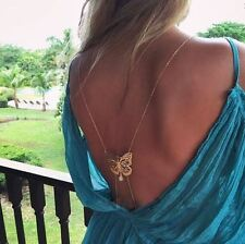 Harness Bikini Beach Crossover Butterfly Gemstone Waist  Body Chain necklace UK