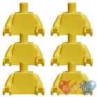 Lego Girl/Boy 6x Minifig Plain Yellow TORSO & Hands - Blank Minifigure Body