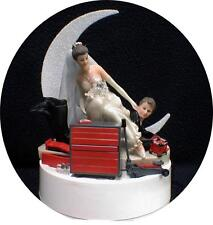 Car AUTO MECHANIC Wedding Cake Topper Bride Draging Groom Tool Box Funny tools