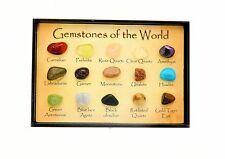 Mini Gem Chart Box - 15 Polished Gemstones of The World In a Display Case